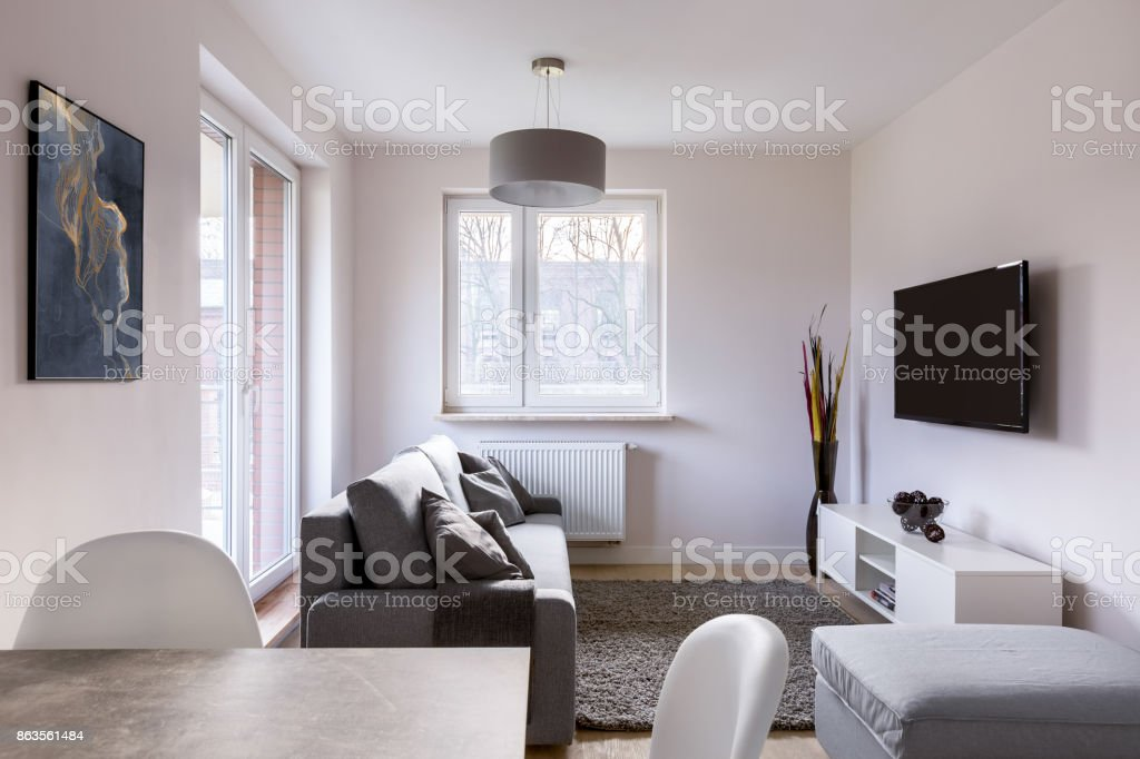 Living room with table stock photo