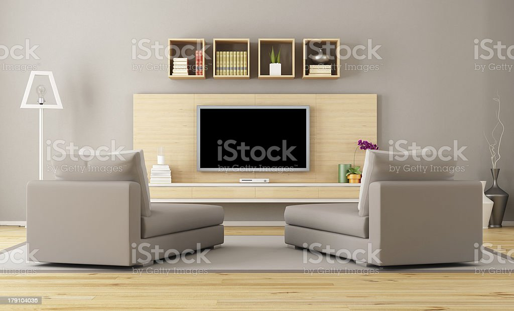 Living room with tv stock photo