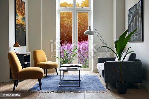 contemporary living room with view to flowerbed. Window has a path to change view. Sparse interior with photography on the walls, hard wood floor and a blue carpet.