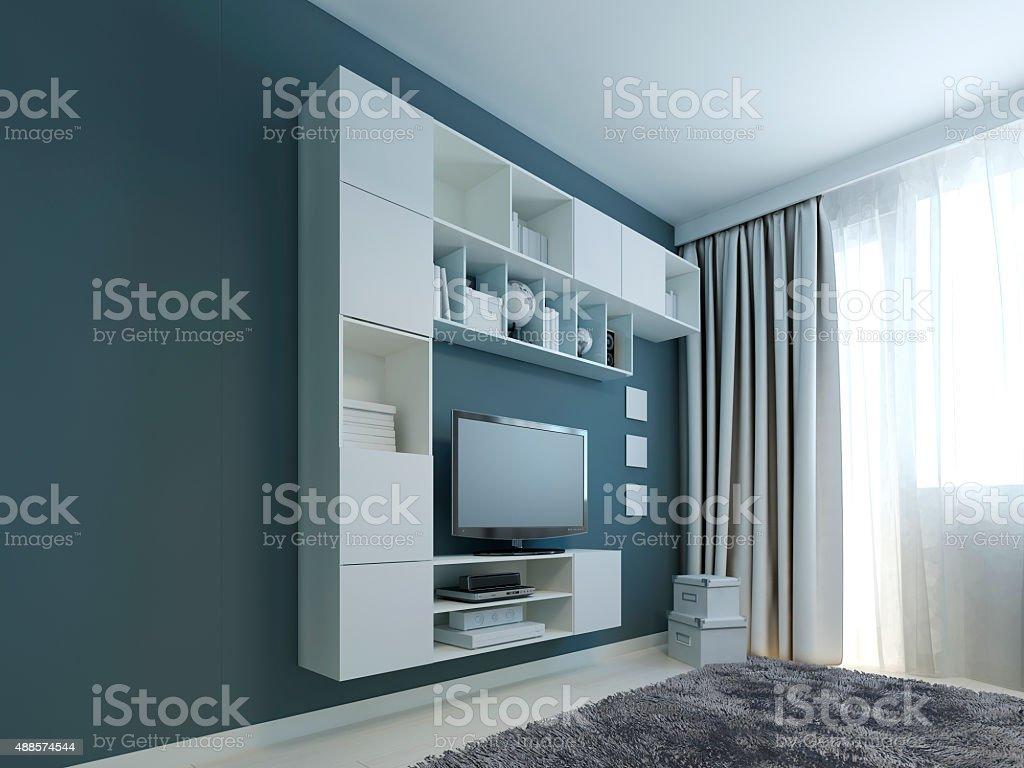 Wohnzimmer Mit Wand Schrank Trend Stockfoto und mehr Bilder von 2015