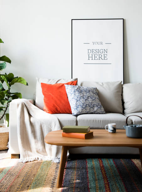 Living room with wall frame mockup stock photo