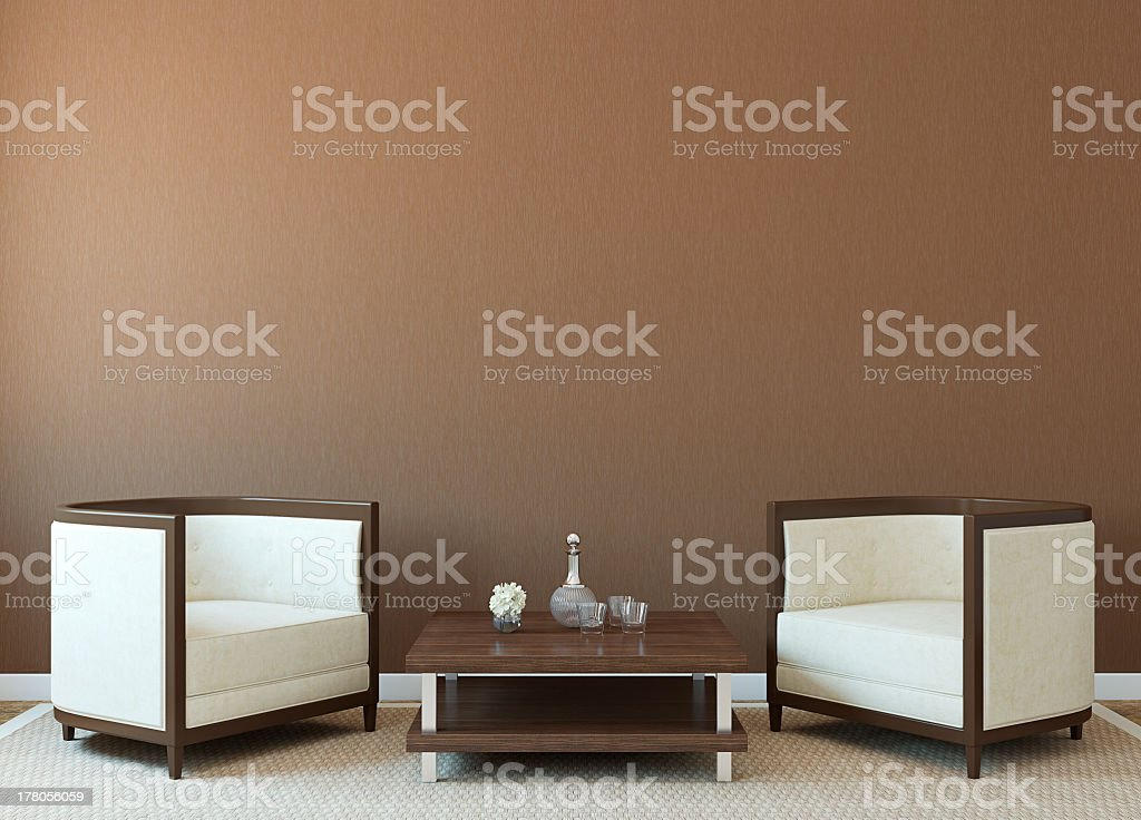 Living room with white chairs and small square table royalty-free stock photo