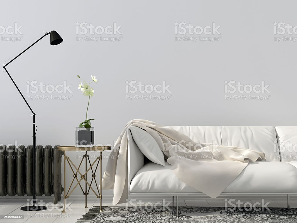 living room with white sofa stock photo