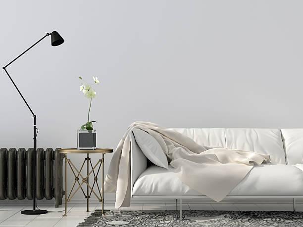 living room with white sofa - heizraum stock-fotos und bilder