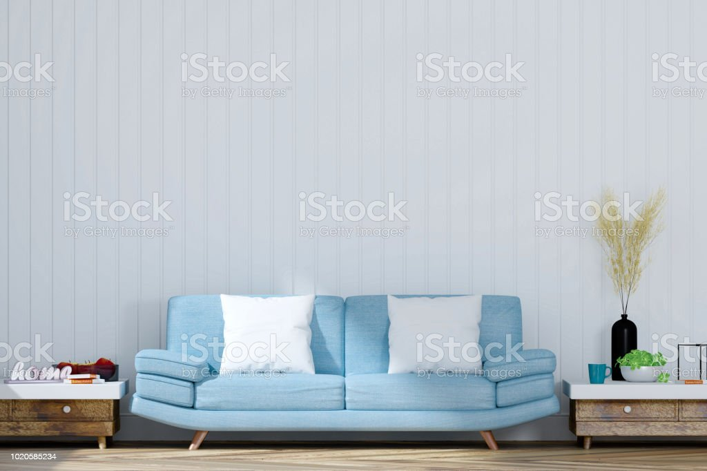 Living Room With White Wall And Light Blue Sofa 3d Rendering Stock Photo Download Image Now Istock