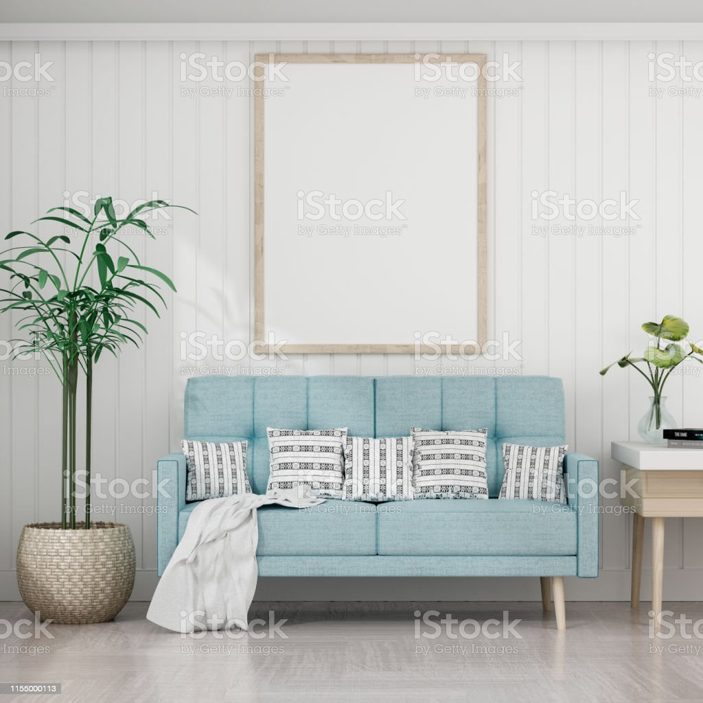 Living Room With White Wall And Light Blue Sofa Blank Poster On White Wall 3d Rendering Stock Photo Download Image Now Istock