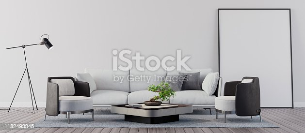 1095381860istockphoto Living room with white wall, Modern interior design 3D Render 1182493345
