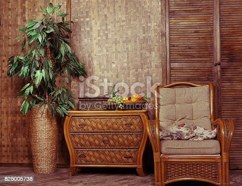 1095381860 istock photo living room with wicker furniture 825005738