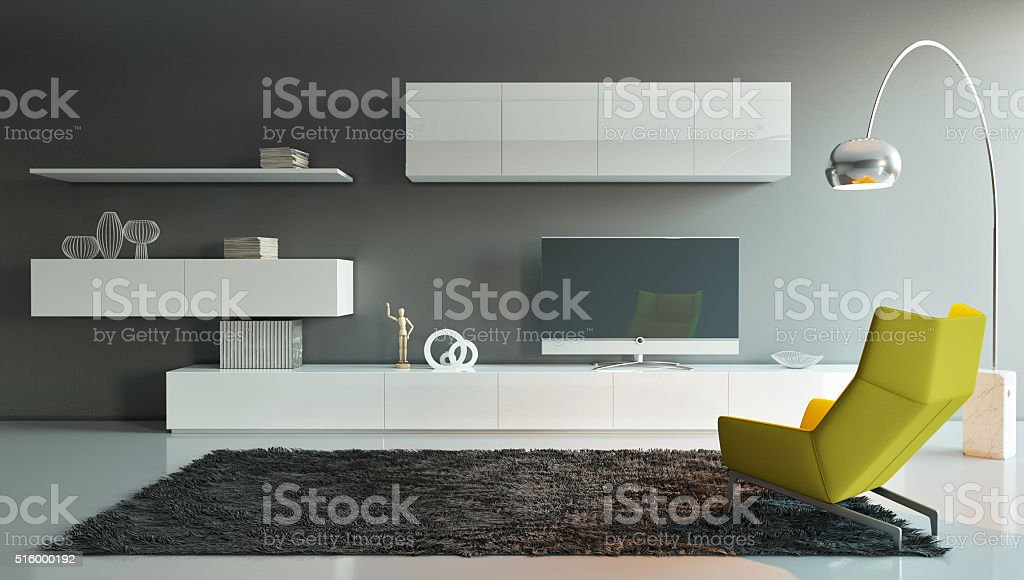 Living Room with Yellow Chair stock photo