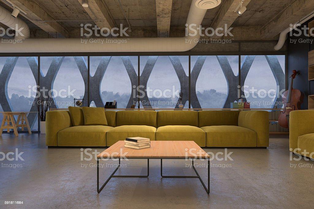 Living room with yellow sofa stock photo