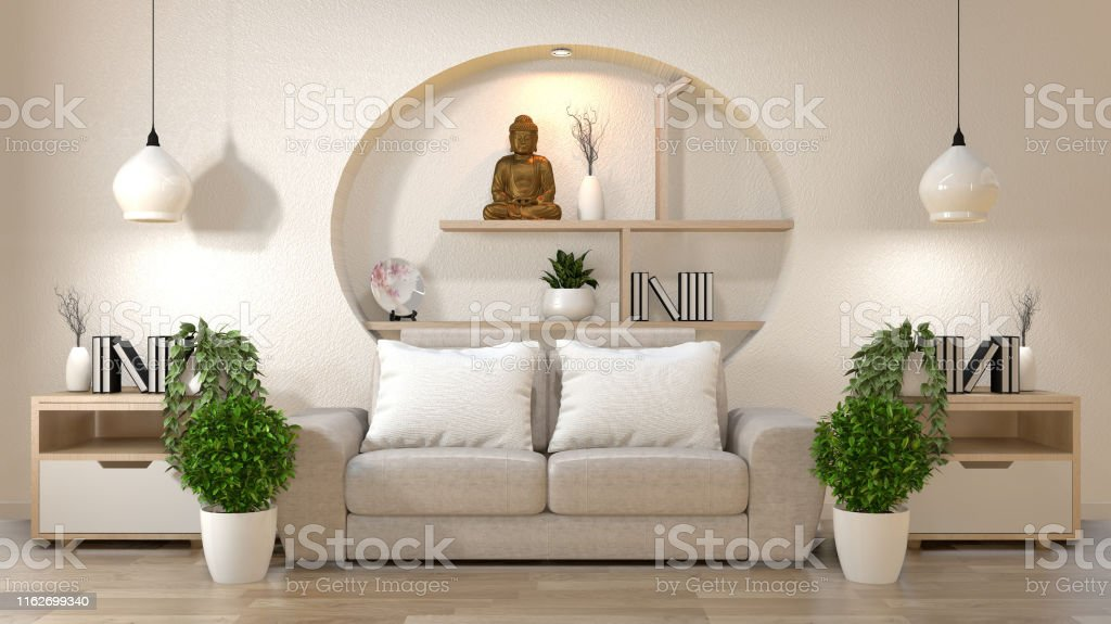 Living Room Zen Interior Decoration On Shelf Wall Mock Up ...