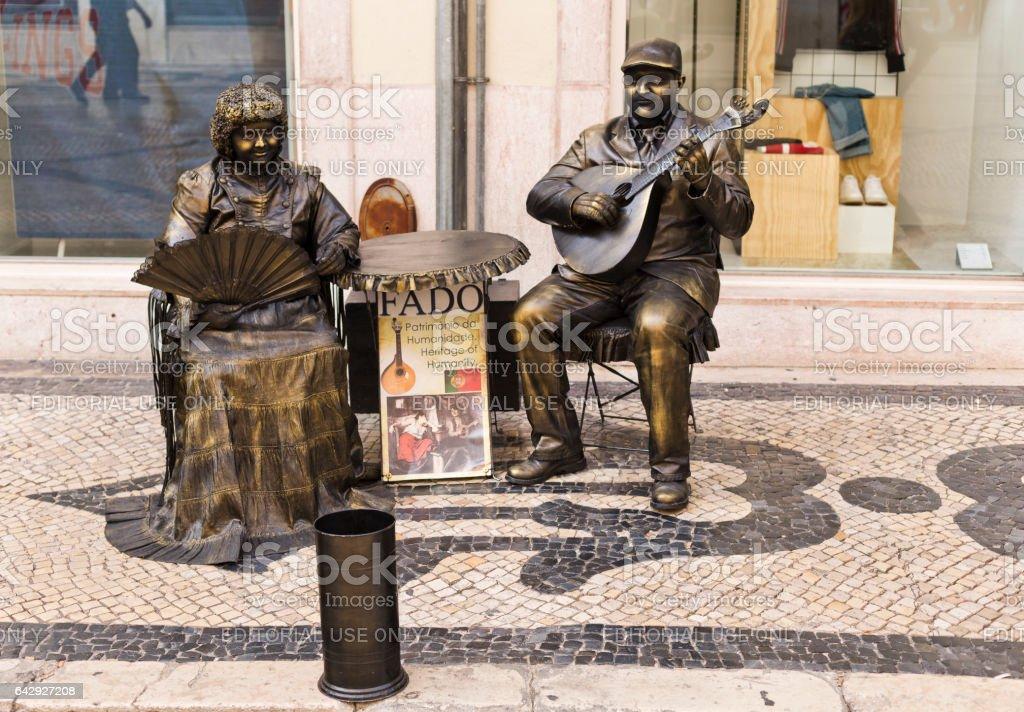 Living Statue in Lisbon stock photo