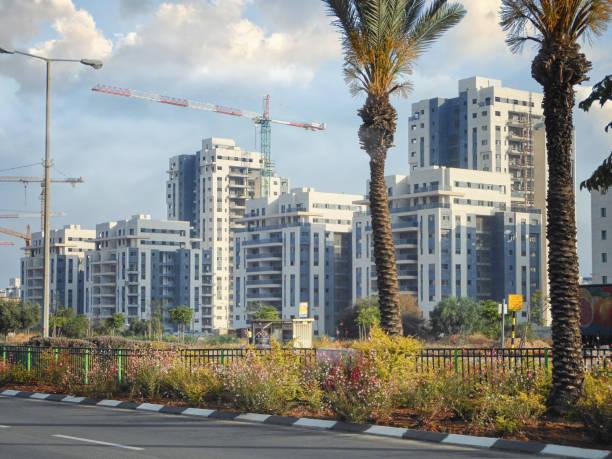 Living towers of Kiryat Haleom neighborhood in Israel stock photo