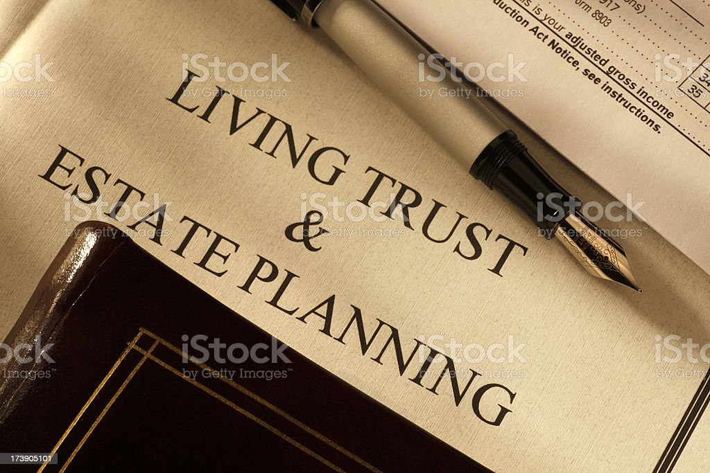 Living Trust and Estate Planning Documents stock photo