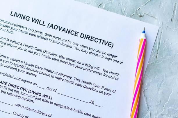living will advance directive - lifestyle stock-fotos und bilder