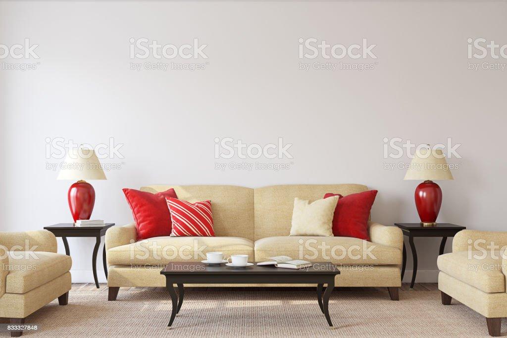 Living-room. 3d render. stock photo