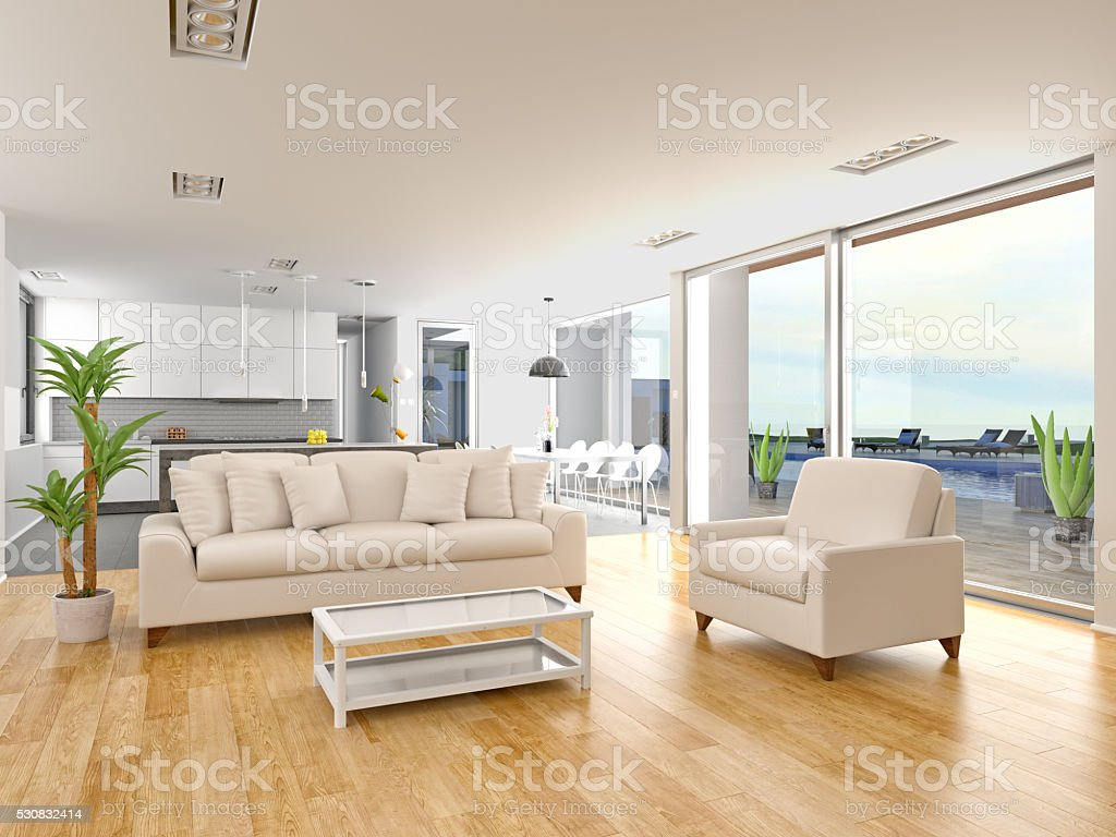 Livingroom house interior with outdoor pool stock photo