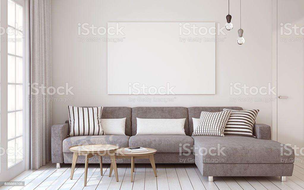 Living-room interior. 3d render.