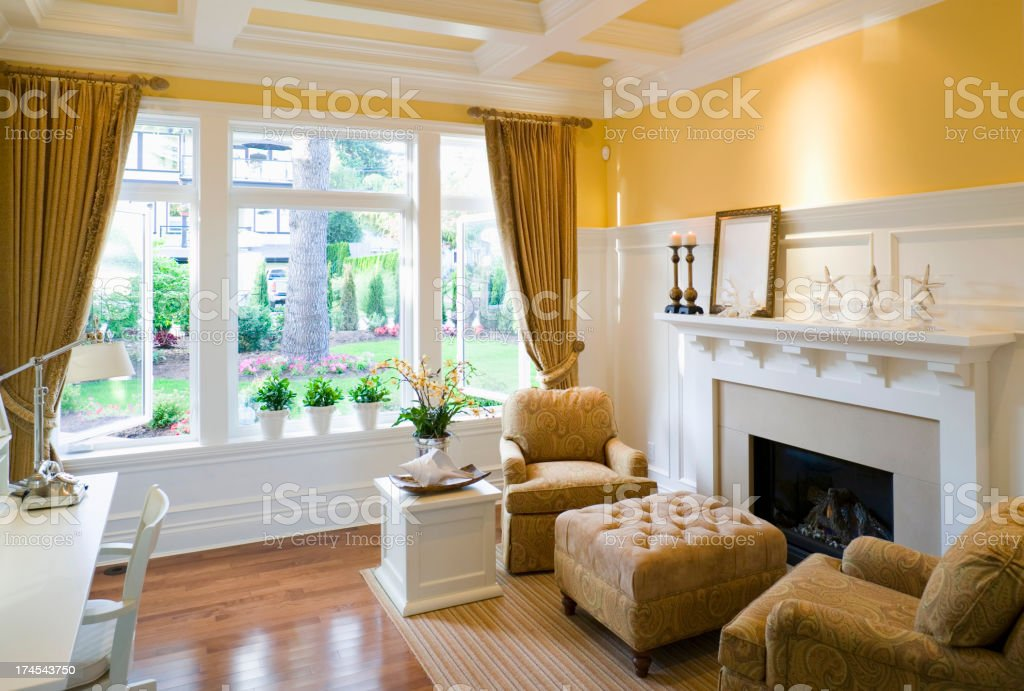 livingroom mansion house window moulding stock photo