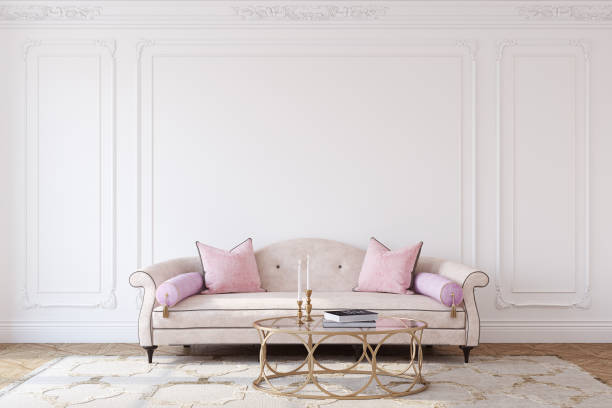 Living-room. Living-room interior in french style. Mockup. 3d render. neo classical stock pictures, royalty-free photos & images