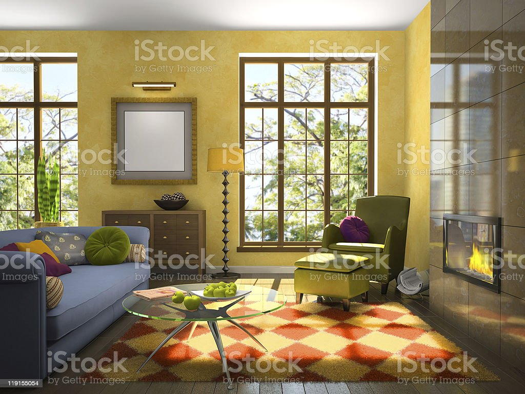 Living-room with fireplace royalty-free stock photo