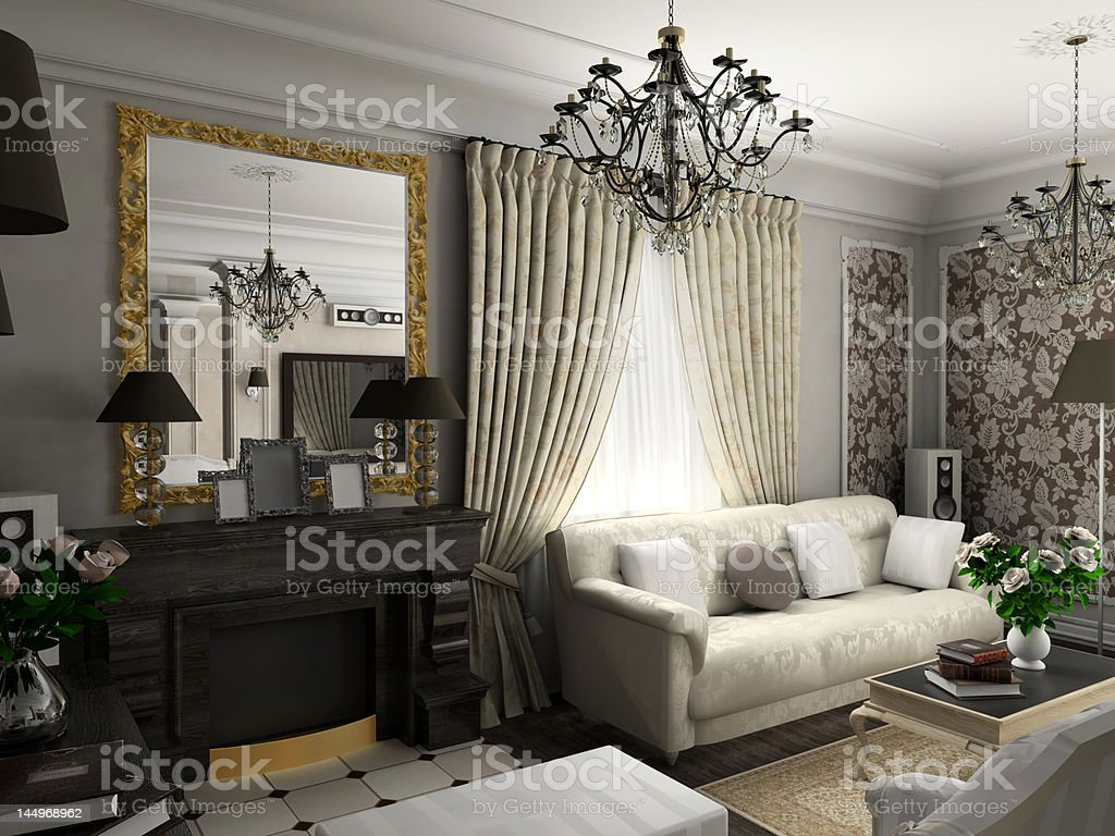 living-room with the classic furniture royalty-free stock photo