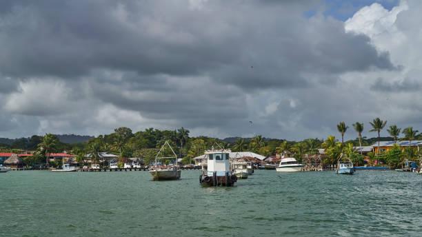 Livingston is the fishing village of Guatemalan ethnic people Garifuna stock photo
