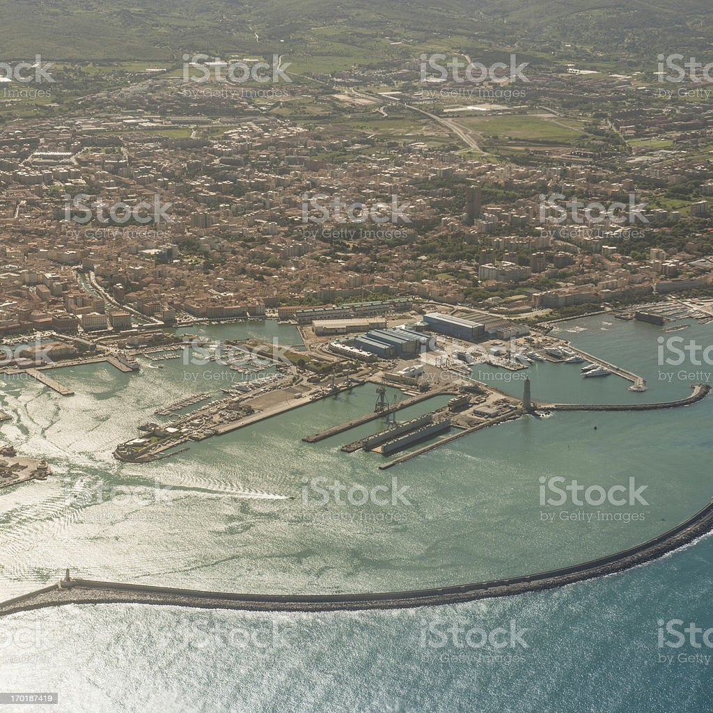 Livorno coastline aerial view royalty-free stock photo