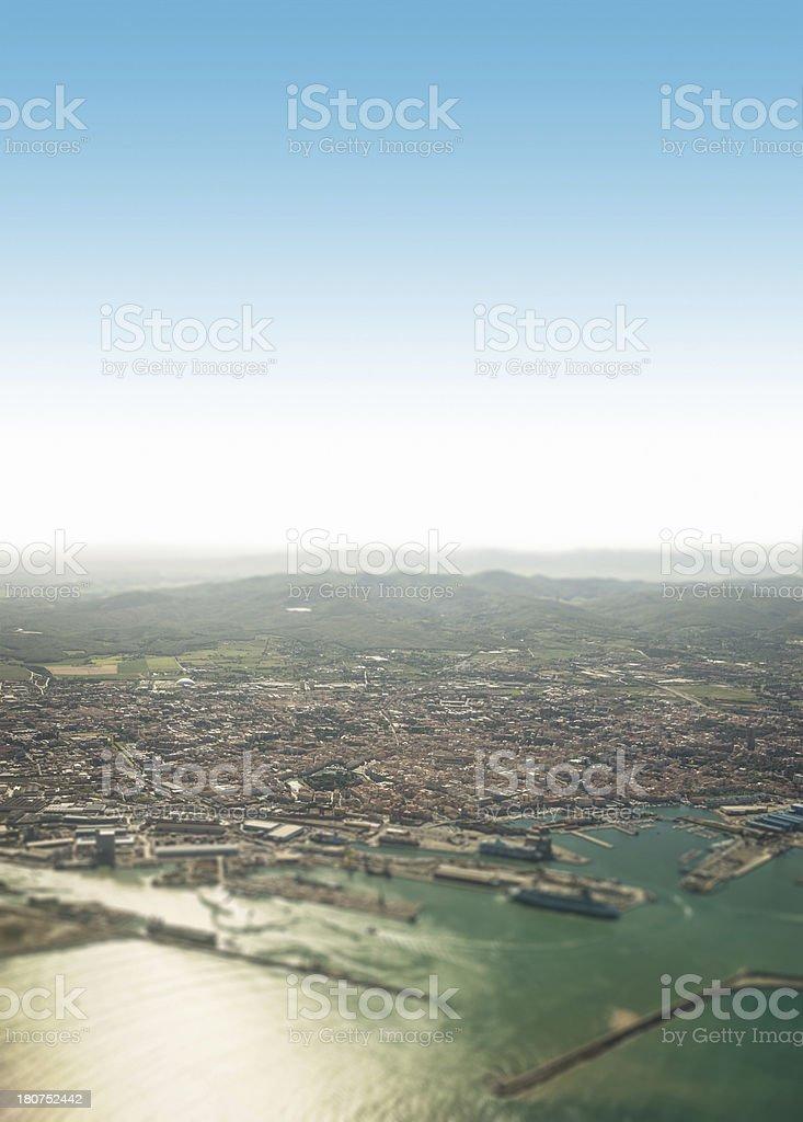 Livorno coastline aerial view royalty-free stock photo