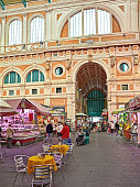 Livorno, Tuscany, Italy: the ancient covered food market built in the nineteenth century in the old town of Leghorn. April 14, 2015