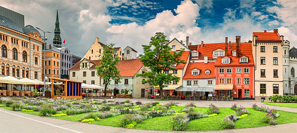 Livu square in historical center of old Riga, Latvia stock photo