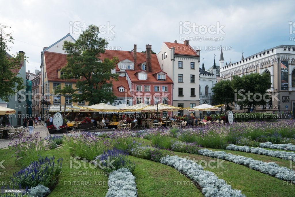 Livu square in Old Town Riga on a sunny summer day stock photo