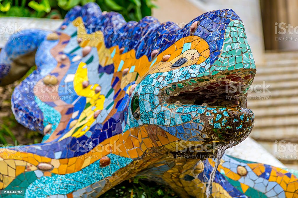 Lizard Fountain in Parc Guell stock photo