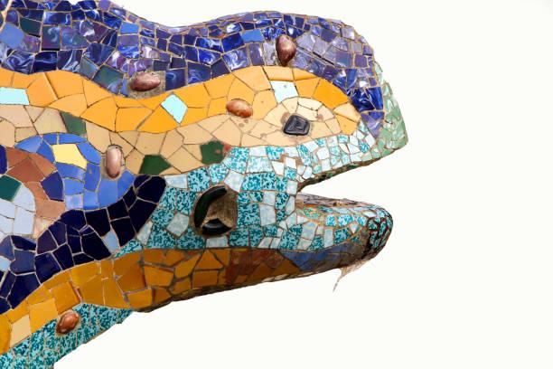 lizard fountain, park guel, barcelona, spain stock photo
