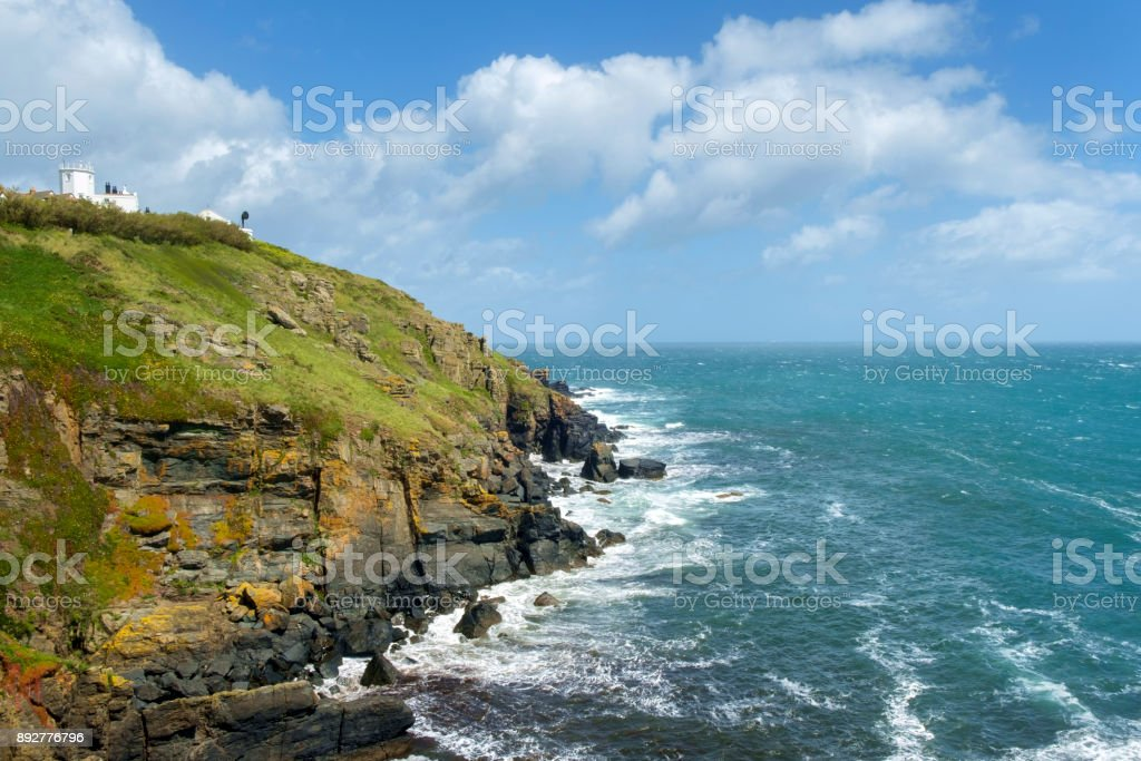 Lizard Lighthouse on the cliffs at Lizard Point in the Lizard Peninsula, Cornwall, UK stock photo
