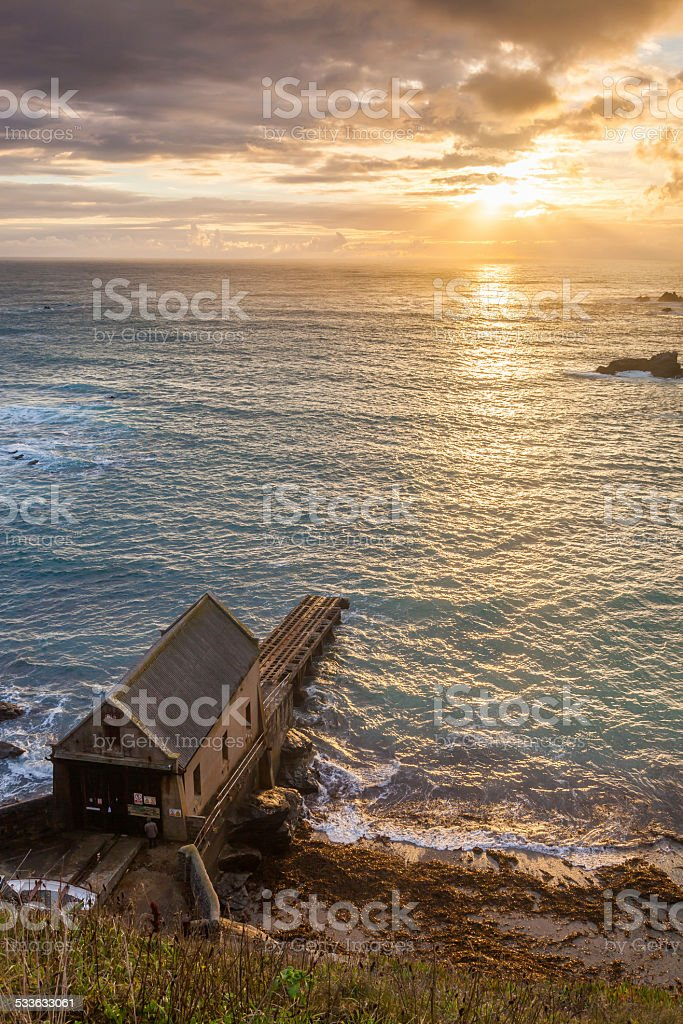 Lizard Point Cornwall Sunset stock photo