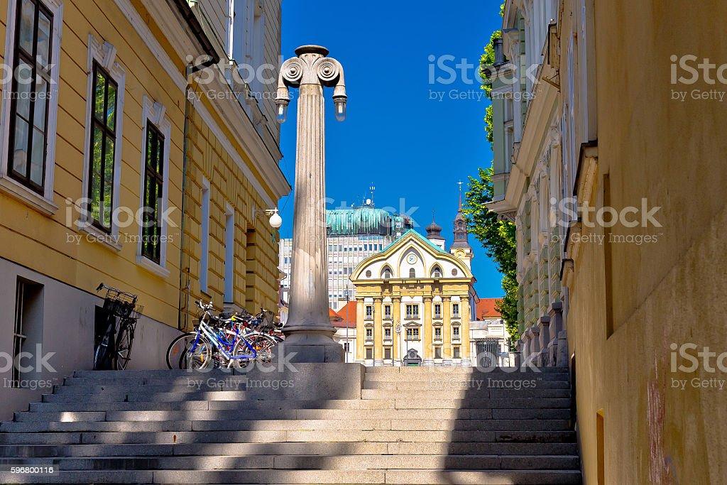 Ljubljana architecture and Church of Holy Trinity stock photo