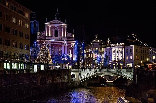 Ljubljana at Christmas time stock photo