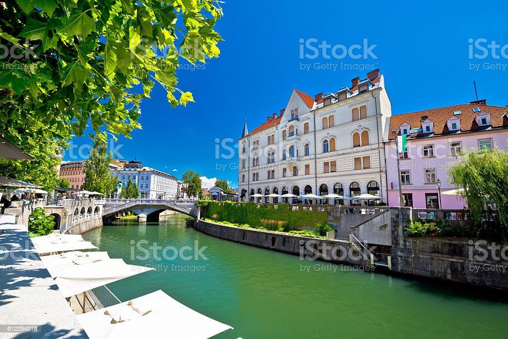 Ljubljana city center on green Ljubljanica river stock photo