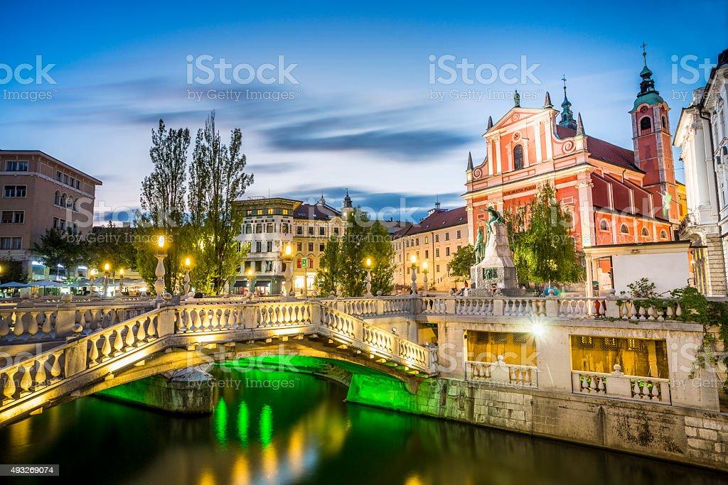 Ljubljana city center - Tromostovje, Slovenia stock photo