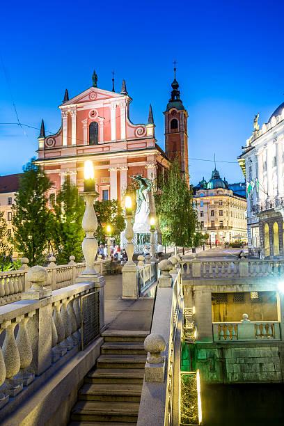 Ljubljana city center - Tromostovje, Slovenia Ljubljana Landmark - Tromostovje in the city center, Slovenia ljubljanica river stock pictures, royalty-free photos & images