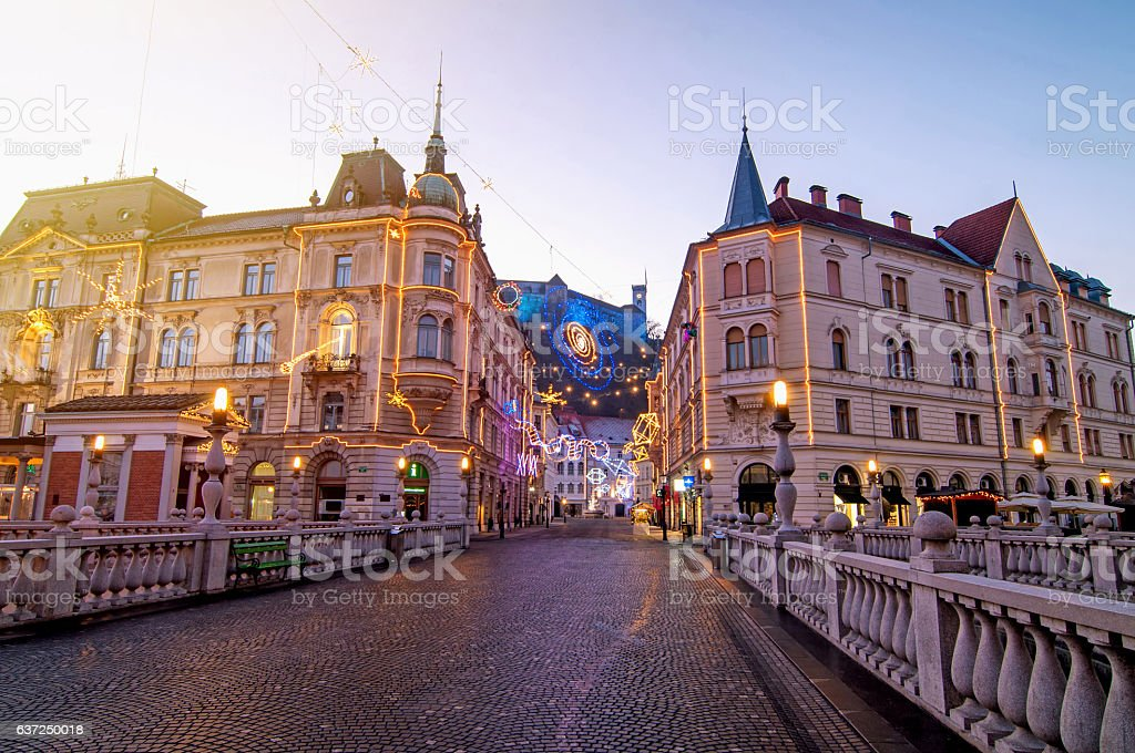 Ljubljana, decorated for Christmas and New Year celebration – Foto
