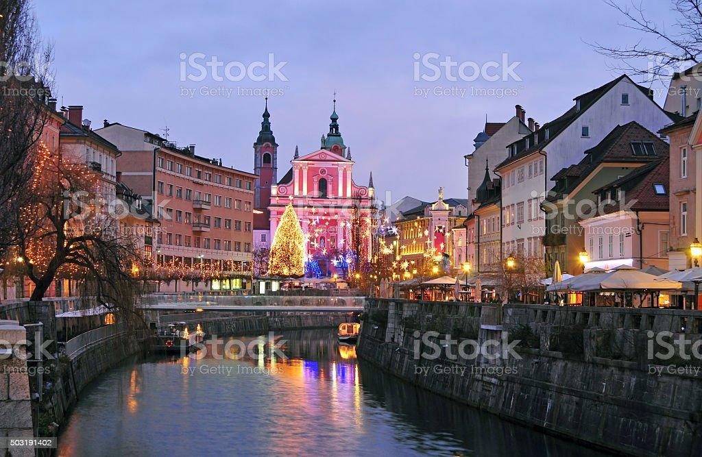 Ljubljana, decorated for New Year's celebration stock photo
