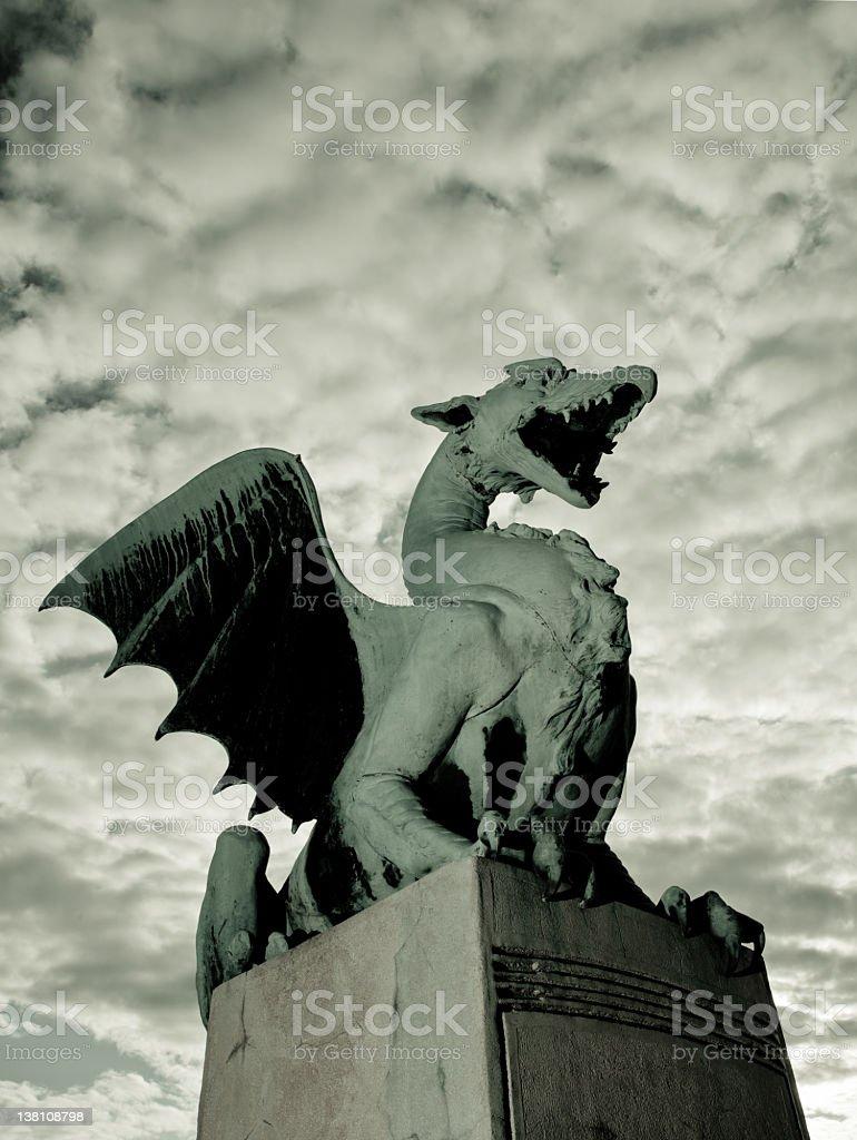 Ljubljana downtown statue stock photo