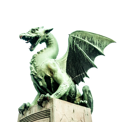 Ljubljana Dragon Bridge, icon of the city. Designed by the architect Jurji Zaninovic in 1900. Slovenia.