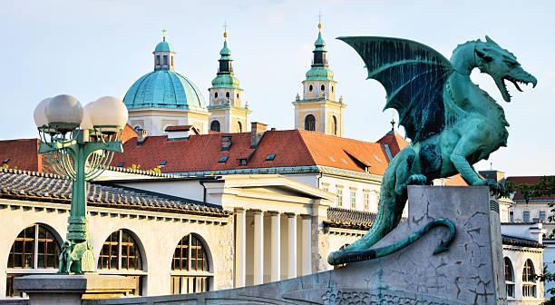 Ljubljana Dragon Green bronze dragon from Ljubljana, Slovenia ljubljana stock pictures, royalty-free photos & images