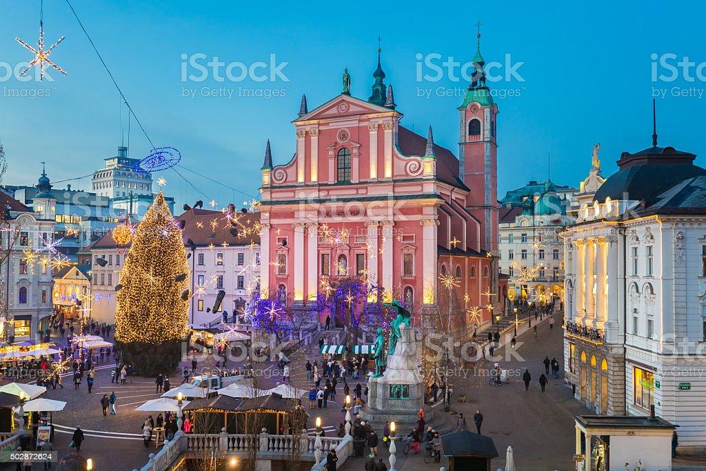 Ljubljana in  Christmas time, Slovenia. stock photo