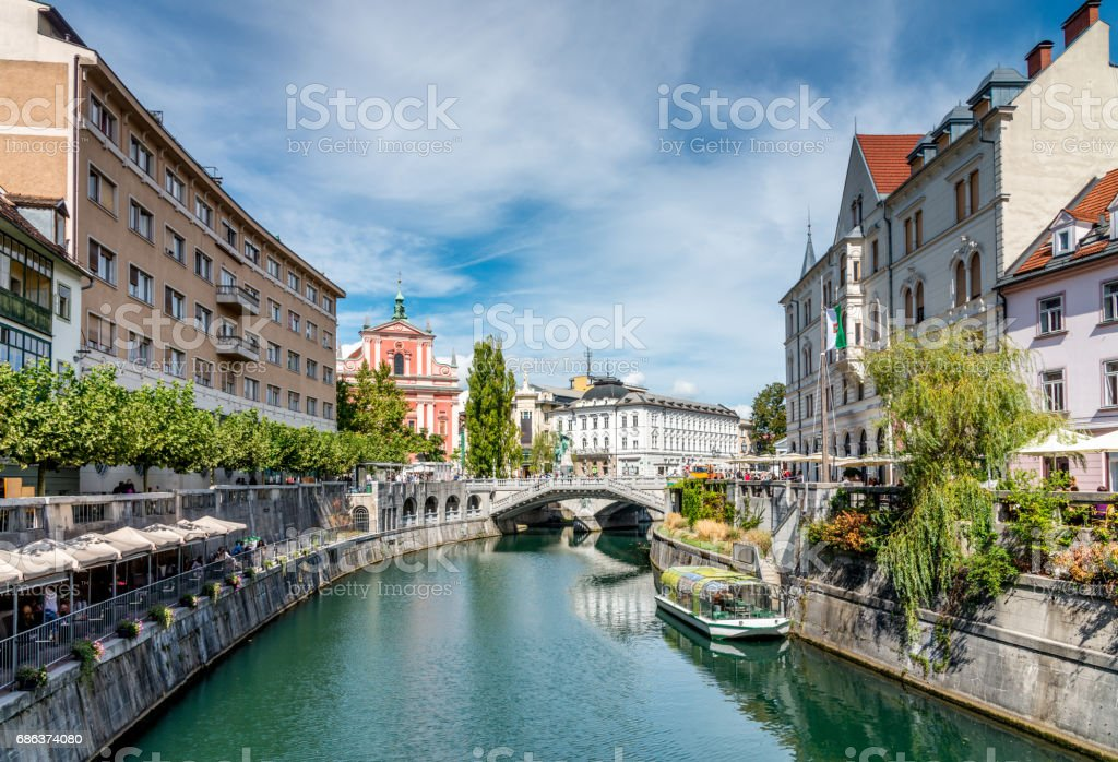 Ljubljana in Summer Ljubljanica River Slovenia stock photo