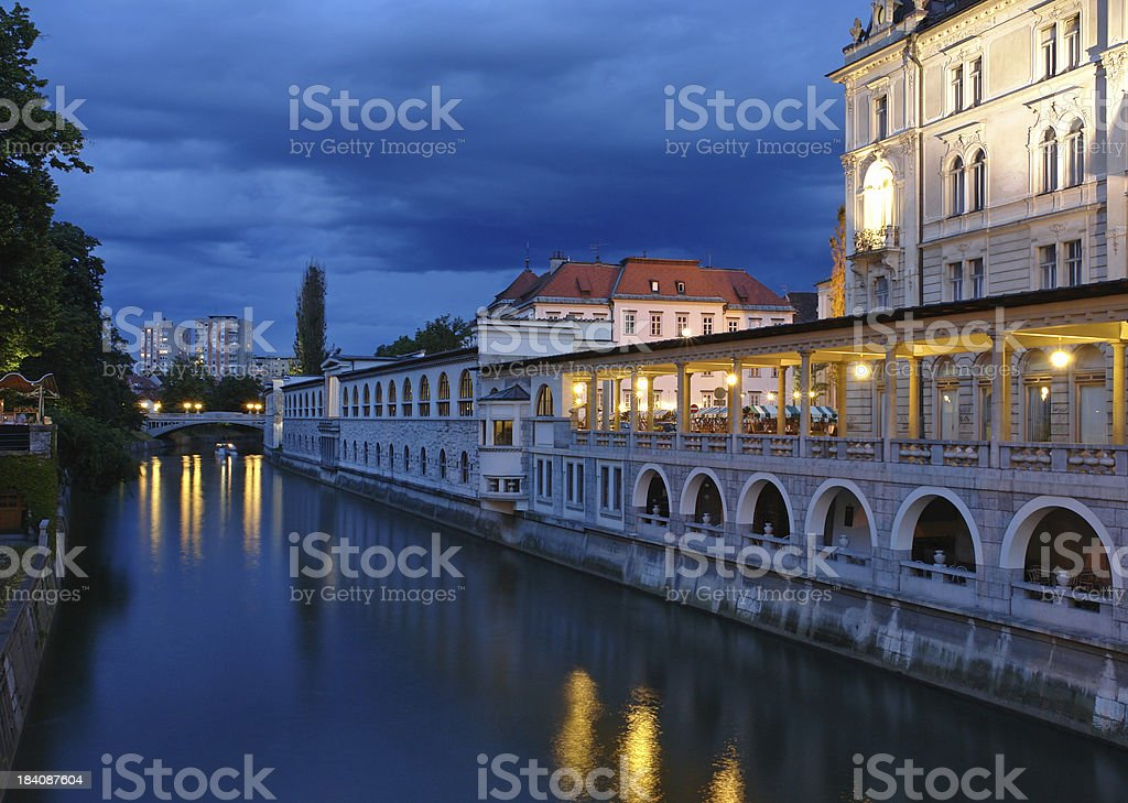 Ljubljana Market by Night royalty-free stock photo