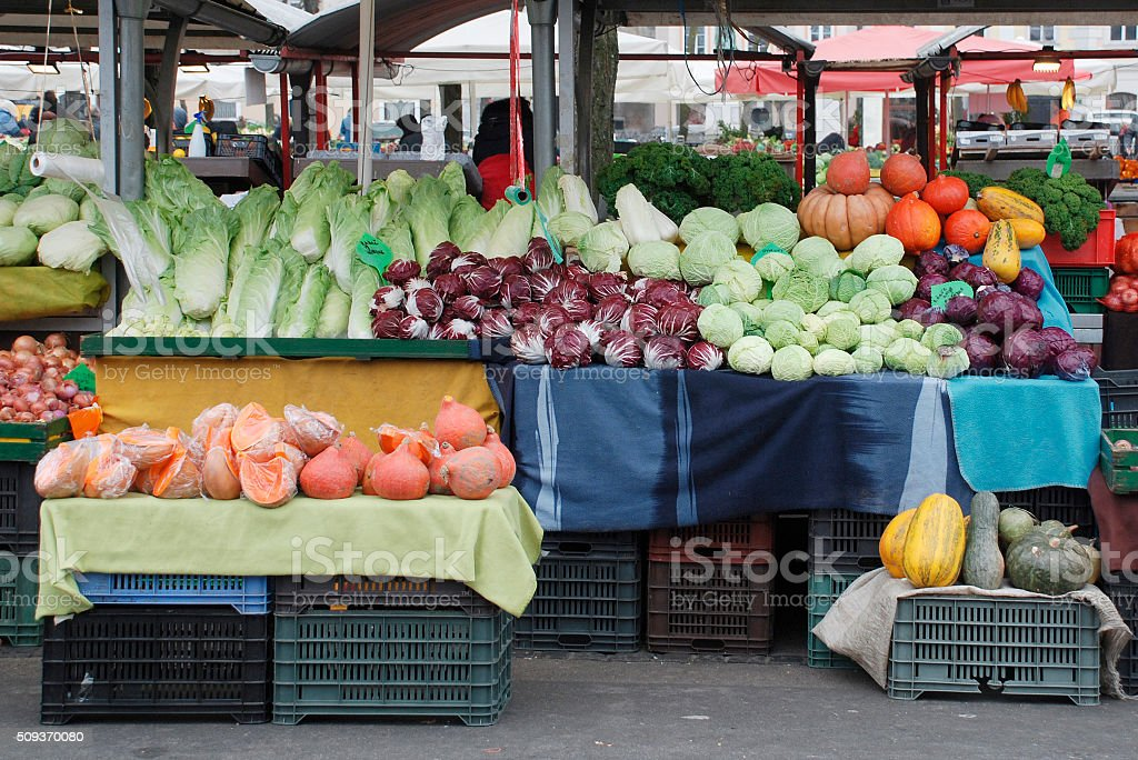 Ljubljana Market in December stock photo